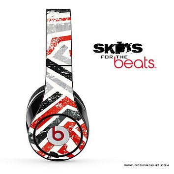Abstract Red Black & White Pattern Skin for the Beats by Dre Solo, Studio, Wireless, Pro or Mixr