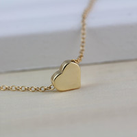 Tiny gold heart necklace gold necklace