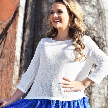 run away with you top, white & blue lace layer