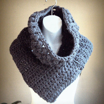 Huntress Cowl Katniss Inspired Cowl Crochet Charcoal Grey Vest Shrug Neckwarmer Scarf Cross Body Sweater Women Clothing Ready to Ship