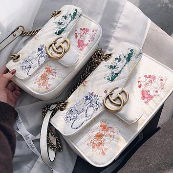 GUCCI Fashion new letter mouse print leather women chain crossbody bag shoulder bag