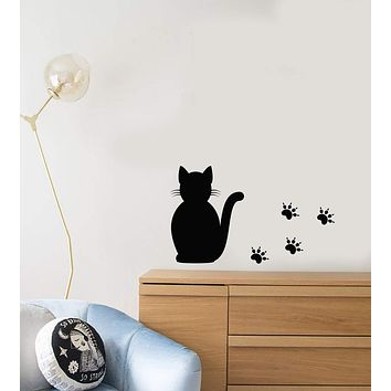 Vinyl Wall Decal Cartoon Cat Silhouette Animal Footprints For Kids Room Stickers (3138ig)