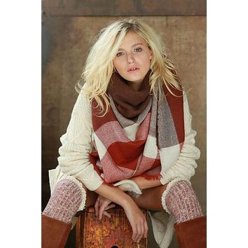 Blanket Scarf (Rust Color Block)