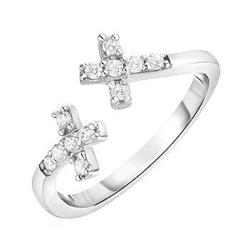 Toe Ring with Crosses in Sterling Silver with Cubic Zirconia