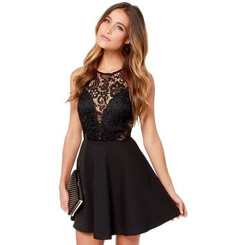 2018 New Women Casual Dress Elegant Wedding Party Sexy Night Club Round Neck Sleeveless Sheath Bodycon Lace Mini Dress vestidos