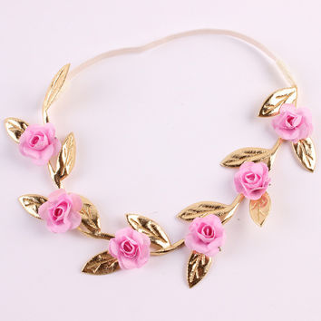 Baby Rose Flower Garland Chic Wedding Flower Leaves Girl Headband Elastic Hairband Crown Wreath Headdress Tiara Hair Accessories
