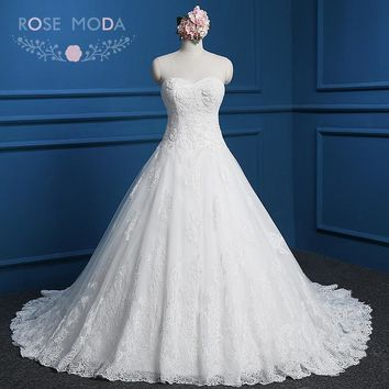 Rose Moda Lace Wedding Dress Plus Size Strapless Princess Lace Ball Gown Real Photos