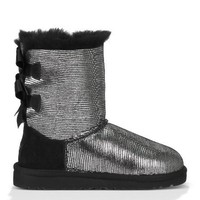 UGG Kids' Bailey Bow Lizard Pre/Gr (Black 2.0 M)