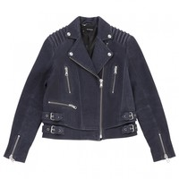 Blue leather biker jacket THE KOOPLES Blue