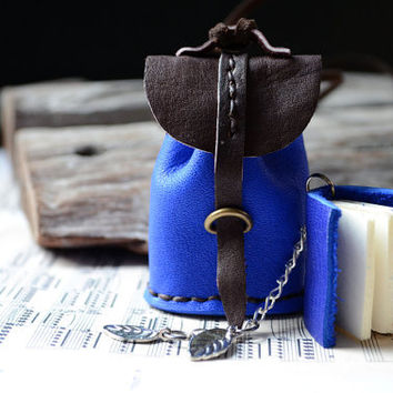 Necklace MiniatureBook in a little bag Ultramarine Blue leather.