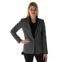 Theory Womens Donelly Wool Blend Contrast Trim Jacket