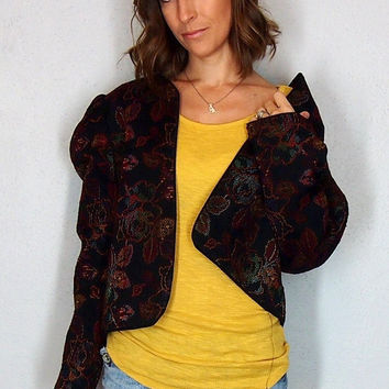 Floral Blazer, Fall Outfit, Black embroidered Blazer Jacket Cardigan Sweater Jumper Vintage Medium Large