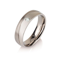 "Diamond Curved Wedding Ring Wedding Band Titanium Half Polished Half Brushed Ring 6mm ""The Wave"""