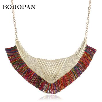 Bohemia Retro Pendant Necklace Women Fan-shaped Metal Design Cotton Tassel Necklace Jewelry Statement Bijoux collares