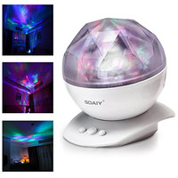 SOAIY Color Changing Led Night Light Lamp, Aurora Star Borealis Projector for Children and Adults, Decorative Light, Mood Light, Baby Nursery Night Light, Kids Bedroom Living Room Night Light (White)