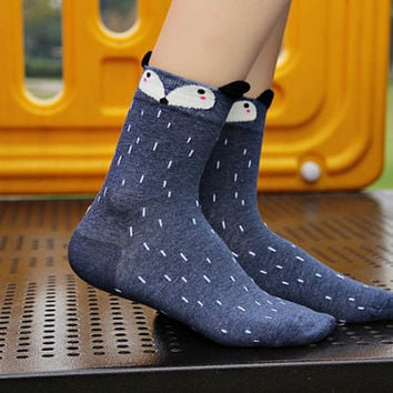10% OFF (Code: PEPA10) Boots socks Fox face socks,cozy socks, crazy cool socks