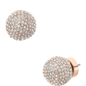 Michael Kors Pave Bead Stud Earrings, Rose Golden