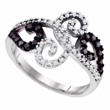 14kt White Gold Women's Round Black Color Enhanced Diamond Curl Ring 1-3 Cttw - FREE Shipping (US/CAN)