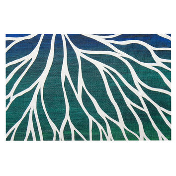 "NL Designs ""Ocean Flower"" Teal Green Decorative Door Mat"