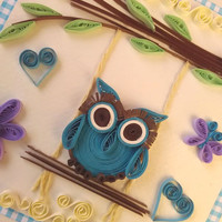 Unique handmade greeting card, Birthday card, Quilling card, Baby shower, Kids card, Fanny cards, Owl