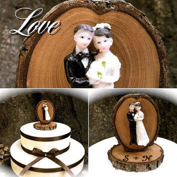Rustic wedding cake topper vintage bride groom wooden toppers country fall weddings