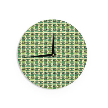 """Holly Helgeson """"Vintage Telephone"""" Green Pattern Wall Clock"""