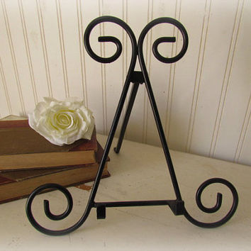 Black Iron Easel for Photos, Paintings or Books / Wedding Photos / Cottage Decor / French Country