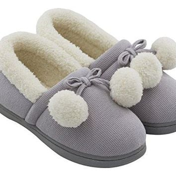Womenrsquos Cozy Cute Fuzzy Knit Cotton Memory Foam House Shoes Slippers for Girls amp Teens with Pom Pom Decor Indoor Outdoor