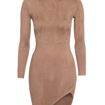 Slit Faux Suede Dress, NLY One