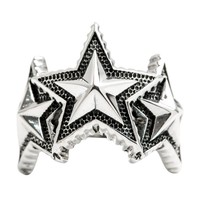 925 Sterling Silver Triple Five-Pointed Star Ring Men's Jewelry