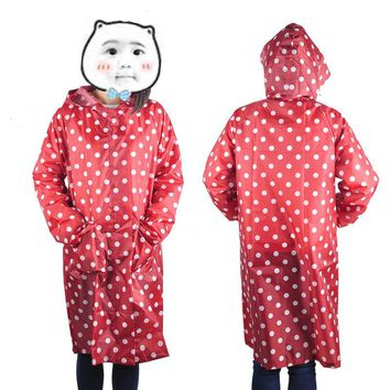 Waterproof Raincoat Women Dot Fashion Long Ladies Raincoat Over Knee With Hood And Packing Pouch Pocket Poncho Coat Rainwear