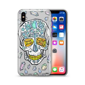 Encrusted Skull - Clear TPU Case Cover Phone Case