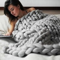 Chunky Knit Blanket Handmade by eacho Soft Knitting Throw Bed Bedroom Decor Bulky Sofa Pet Mat, Grey, 40'' x 59''