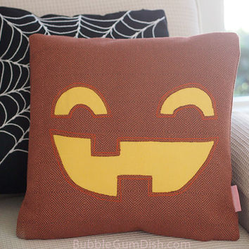 Jackson the Jack o Lantern Pumpkin Pillow Cover Halloween Decor 18 x 18
