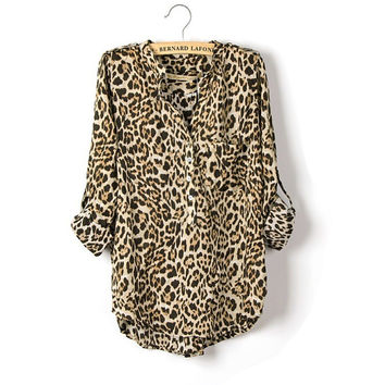 Long Sleeve Leopard Chiffon V-neck Blouse