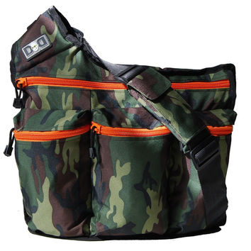 Diaper Dude Messenger Diaper Bag for Dads Camo with Orange Zippers Camouflage
