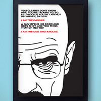 I Am The Danger - Breaking Bad Poster  - the one who knocks - heisenberg, walter white ribba AMC bryan cranston drugs meth