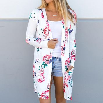 Floral print women's jacket Thin coat Fashion Cardigans casual long 2018 Spring Summer outerwear female clothing  WS1105K