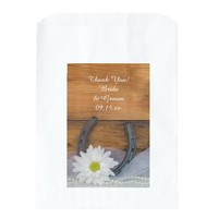 White Daisy Horseshoe Country Wedding Thank You Favor Bags