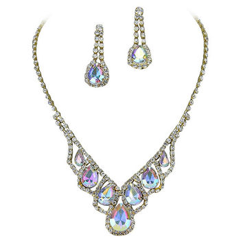 Elegant Droplets Rhinestone Prom Bridesmaid Evening Necklace Set