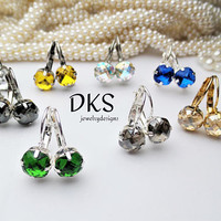 Swarovski Classical Square, 8mm, Drop Earrings, Lever Back, Bridesmaid Gift, Solitare, DKSJewelrydesigns, FREE SHIPPING