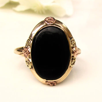 Antique Bezel Set Onyx Ring Orange Blossom Motif Unique Engagement Ring 10K Yellow Green & Rose Gold Antique Wedding Ring Size 6!