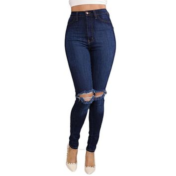 2017 Summer Ripped Jeans For Women Rolling Up Woman Skinny Pants Slim Trousers For Women High Waist Women's Hole Jeans