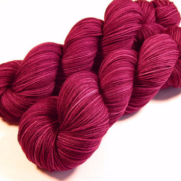 Hand Dyed Yarn - Sock Weight 4 Ply Superwash Merino Wool Yarn - Plumberry Semi-Solid - Knitting Yarn, Sock Yarn, Wool Yarn, Red Violet
