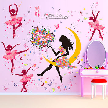 DIY Wall Sticker Butterfly Wall Decals Bicycle and lovely Ballet Girls Poster Stickers for Home Decor Decoration Free shipping