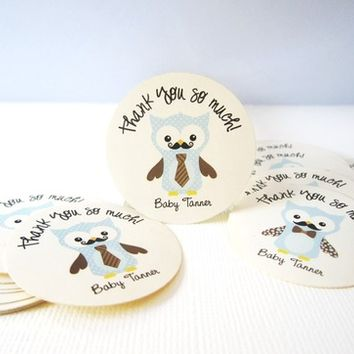 Owl with Mustache and Tie Stickers, Personalized from Adorebynat