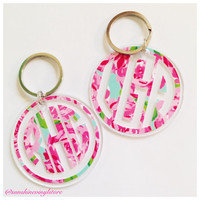 Lilly Pulitzer Inspired Monogram Key Chain