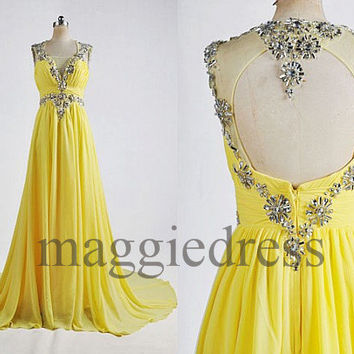Custom Yellow Crystals Long Prom Dresses Evening Gowns Backless Formal Party Dress Bridesmaid Dresses 2014 Formal Wear Cocktail Dresess