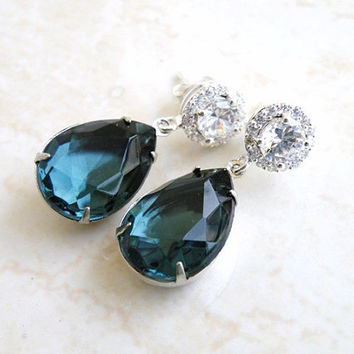 Wedding Jewelry Bridal Earrings Montana Navy Blue Teardrop Stone Silver Stud Earrings - Bella EVM Estate Style