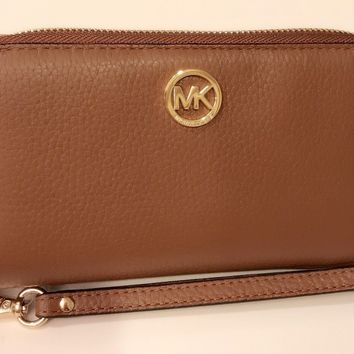 NWT Authentic Michael Kors Fulton Luggage Leather Phone Case Wallet/Wristlet